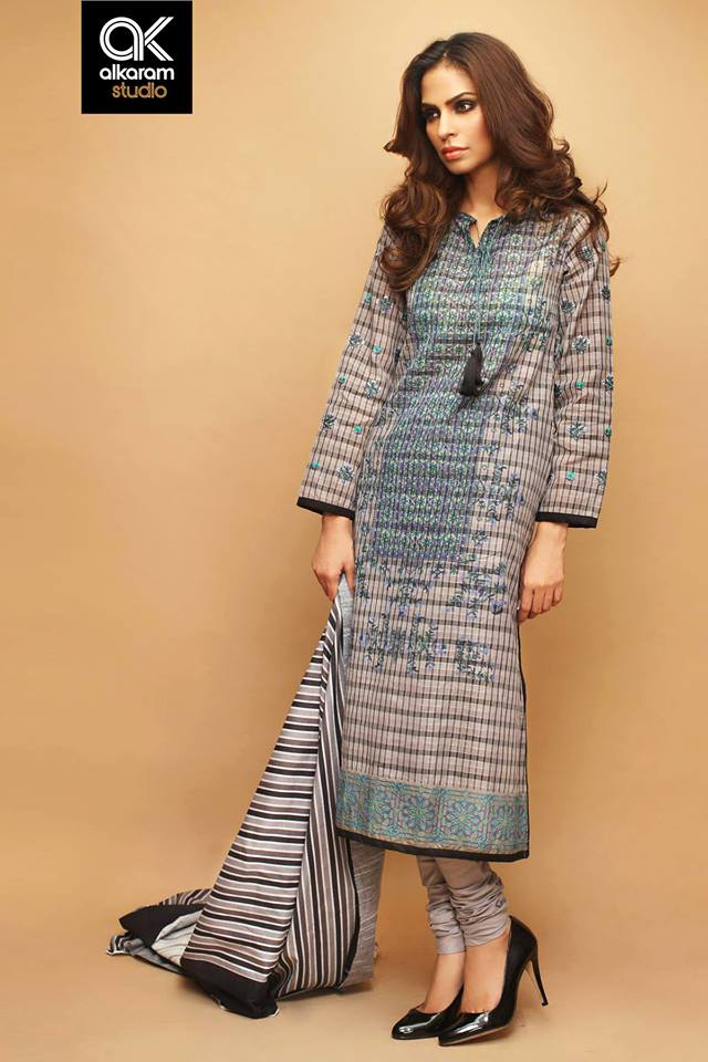 AlKaram Studio Trendy Winter Dresses Glamorous Fall Collection for Women 2014-2015 (10)