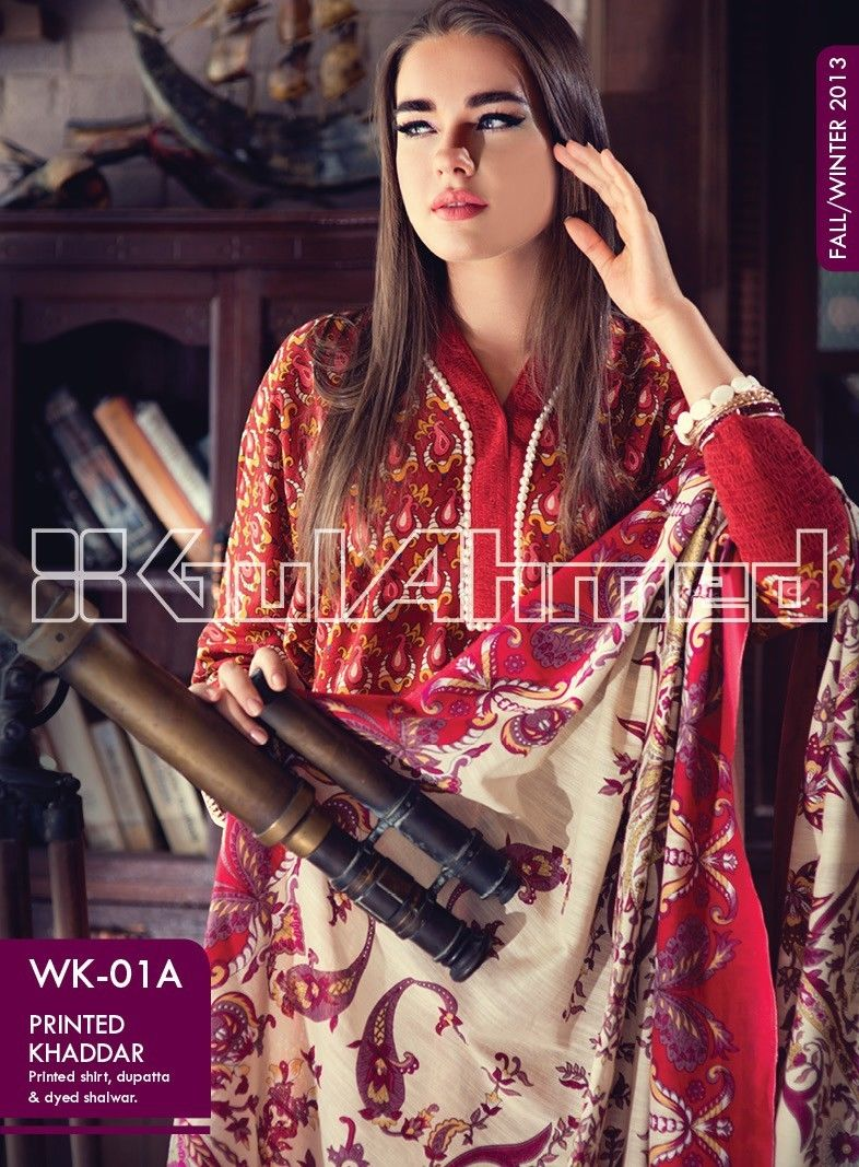 Gul Ahmed Printed Khaddar & Pashmina Shawl Suits Winter Collection 2014-2015 (10)