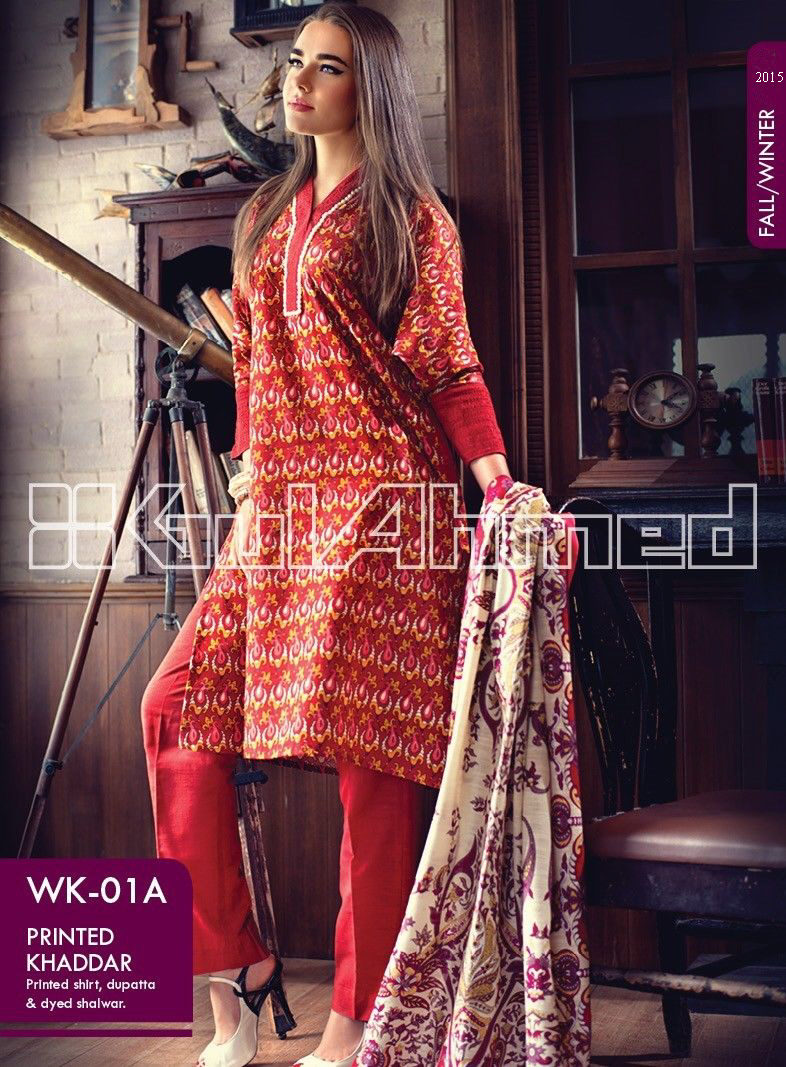 Gul Ahmed Printed Khaddar & Pashmina Shawl Suits Winter Collection 2014-2015 (11)