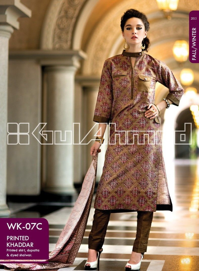 Gul Ahmed Printed Khaddar & Pashmina Shawl Suits Winter Collection 2014-2015 (2)
