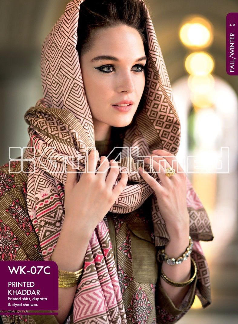 Gul Ahmed Printed Khaddar & Pashmina Shawl Suits Winter Collection 2014-2015 (3)