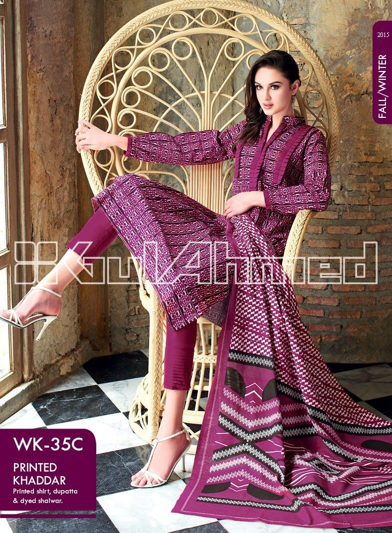 Gul Ahmed Printed Khaddar & Pashmina Shawl Suits Winter Collection 2014-2015 (8)