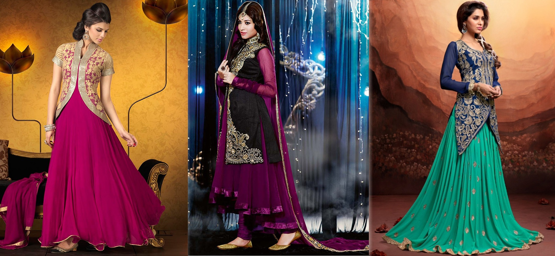 Latest Indian Jacket Style Dresses Gowns Anarkali Suits 2016 17