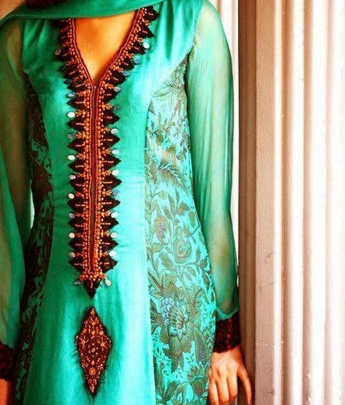 Latest Indian & Pakistani Best Neck-line (Gala) designs for Girls 2014-2015 (14)
