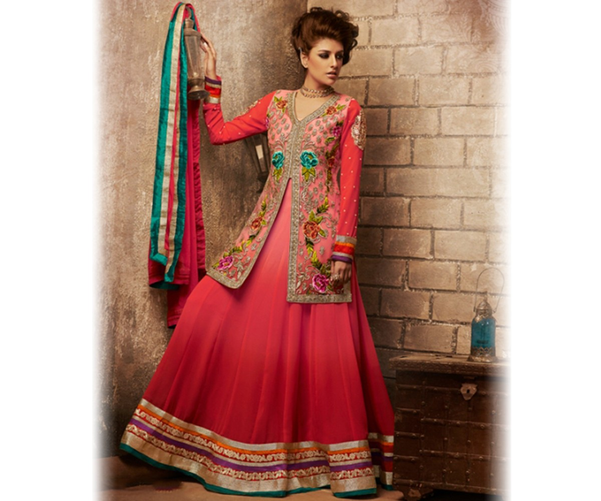 Latest Jacket Style Dresses Anarkali Suits & Gowns 2014-2015 for Girls (20)