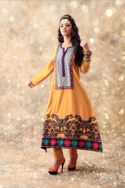 Latest Winter Fashion Long Shirts Dress Designs Collection for Women 2014-2015 (29)