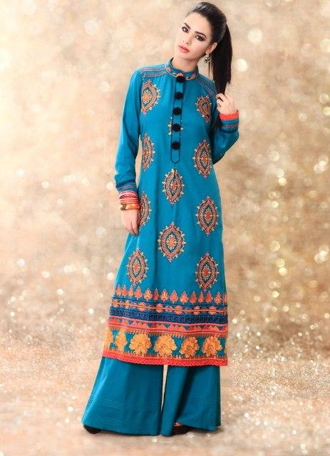 Latest Winter Fashion Long Shirts Dress Designs Collection for Women 2014-2015 (5)