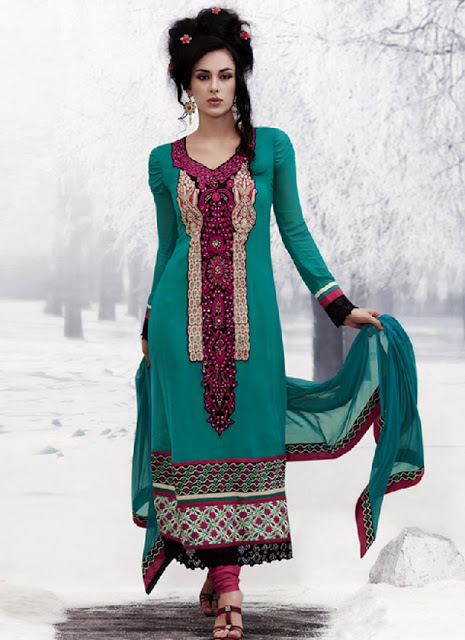 Latest Winter Fashion Long Shirts Dress Designs Collection for Women 2014-2015 (8)