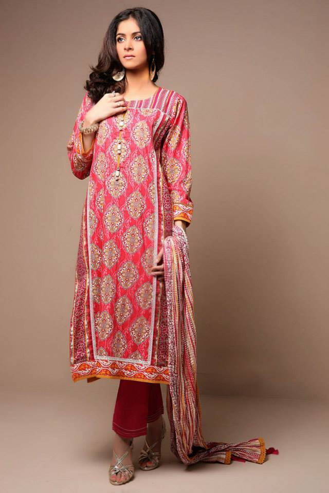 Satrangi By Bonanza Glamorous Ready To Wear Dresses Cambric Lawn Collection 2014-2015 for Women (8)