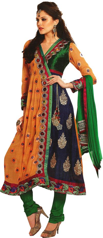 Angrakha Party Wear Frocks & Salwar Kameez For Girls (16)