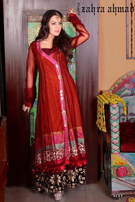 Angrakha Party Wear Frocks & Salwar Kameez For Girls (19)