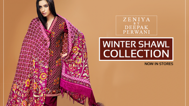 Zeniya By Deepak Perwani Latest Winter Shawl dresses Collection for Women 2014-2015 (1)