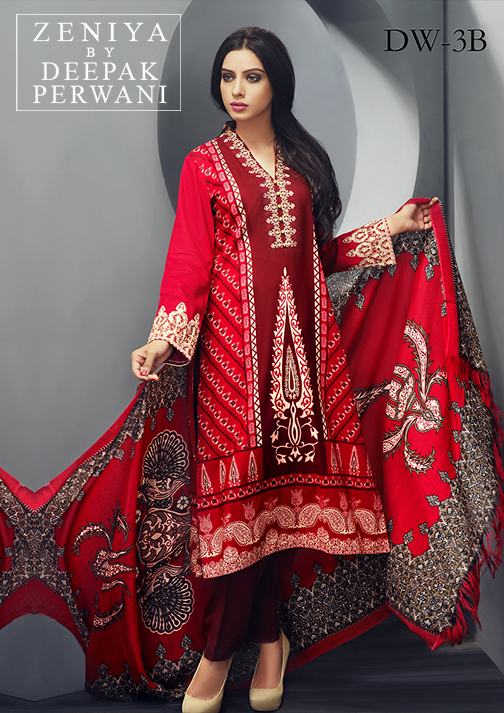 Zeniya By Deepak Perwani Latest Winter Shawl dresses Collection for Women 2014-2015 (18)