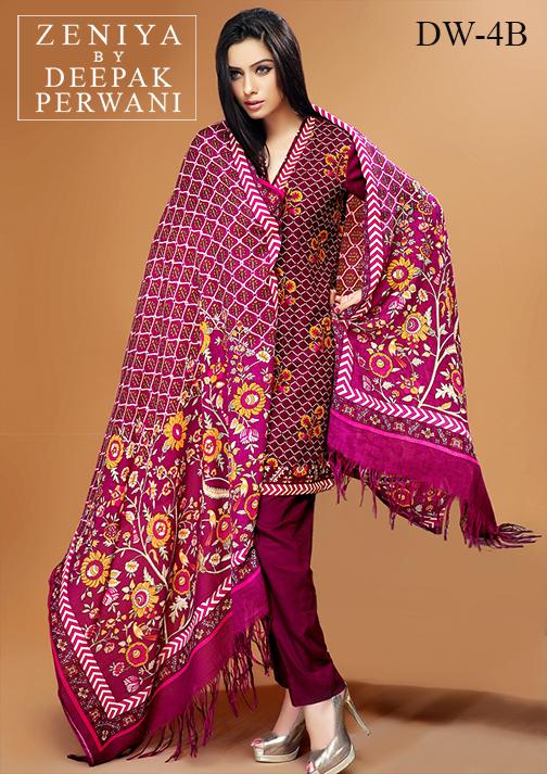 Zeniya By Deepak Perwani Latest Winter Shawl dresses Collection for Women 2014-2015 (2)