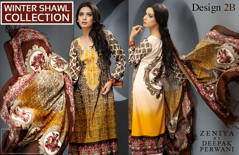Zeniya By Deepak Perwani Latest Winter Shawl dresses Collection for Women 2014-2015 (4)