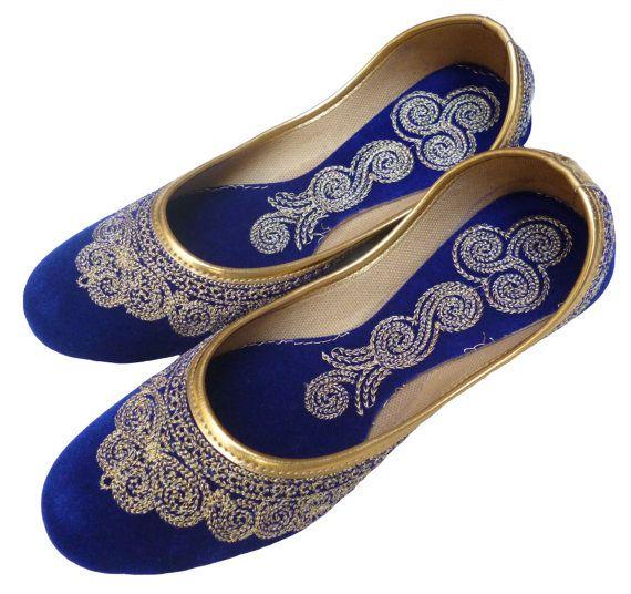 Blue Indian Men Khussa Shoes