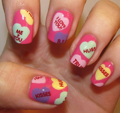 LOVE ON THE LINE XOXO KISSES & HUGGS - romantic nail art designsBest & Beautiful Nail Art Designs & Ideas to Spice up your Valentines Day (4)
