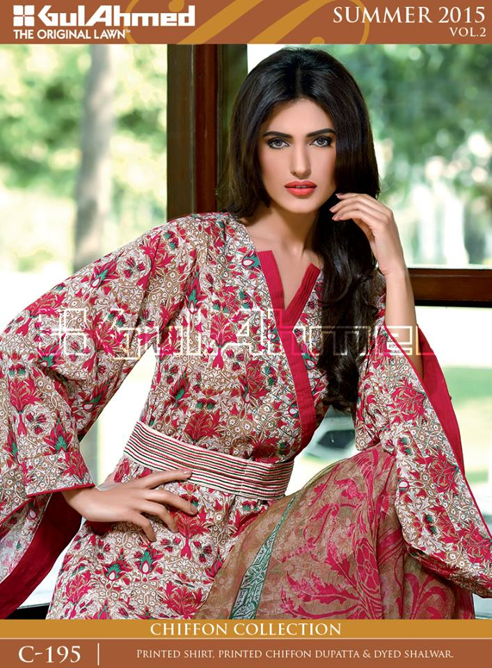 Gul Ahmed The Original Lawn Summer Lawn Chiffon Dresses Collection 2015-2016 (12)
