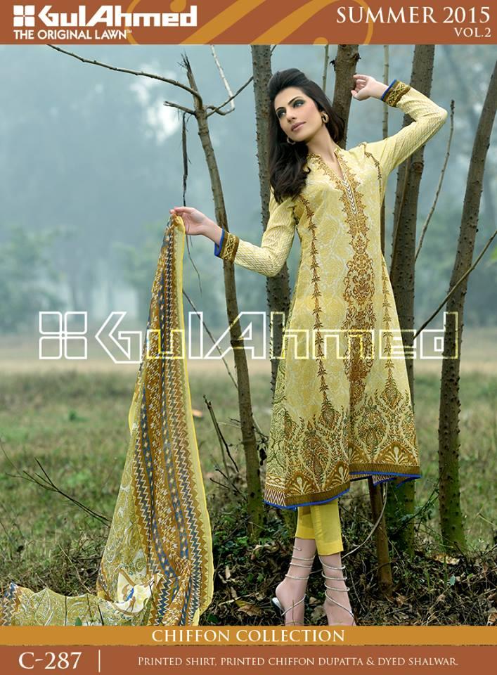 Gul Ahmed The Original Lawn Summer Lawn Chiffon Dresses Collection 2015-2016 (19)