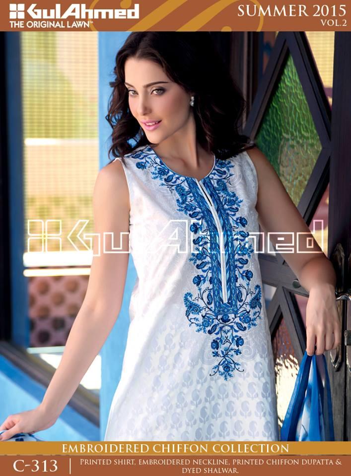 Gul Ahmed The Original Lawn Summer Lawn Chiffon Dresses Collection 2015-2016 (24)