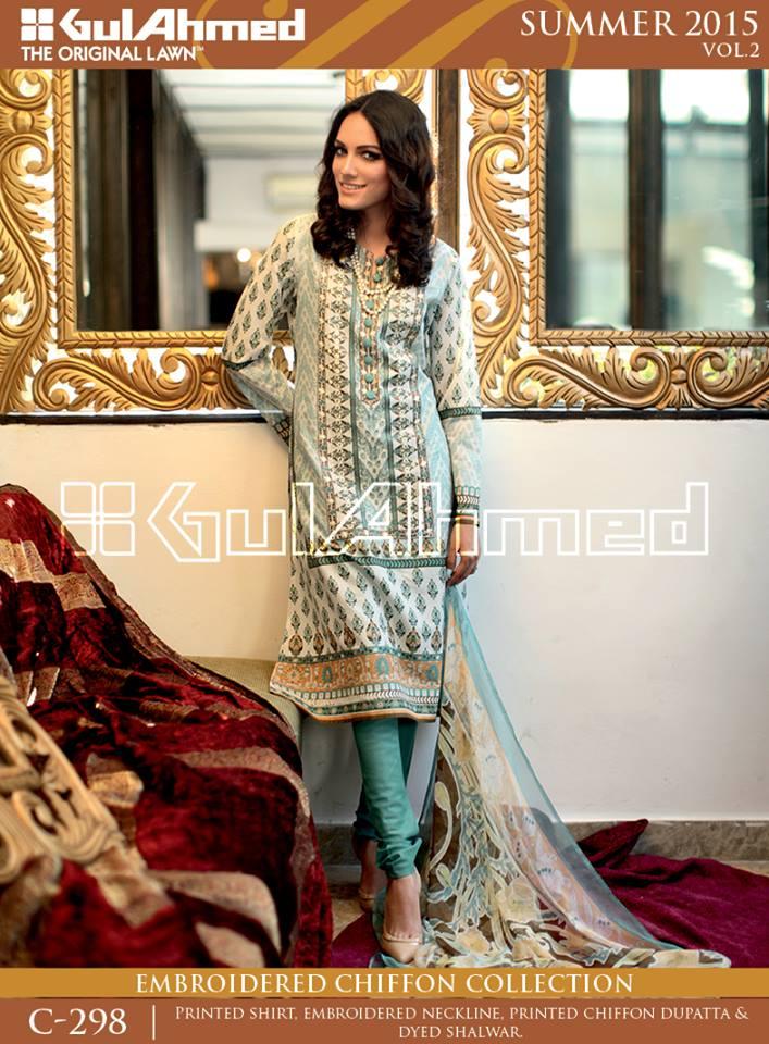 Gul Ahmed The Original Lawn Summer Lawn Chiffon Dresses Collection 2015-2016 (26)