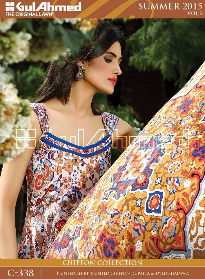 Gul Ahmed The Original Lawn Summer Lawn Chiffon Dresses Collection 2015-2016 (3)