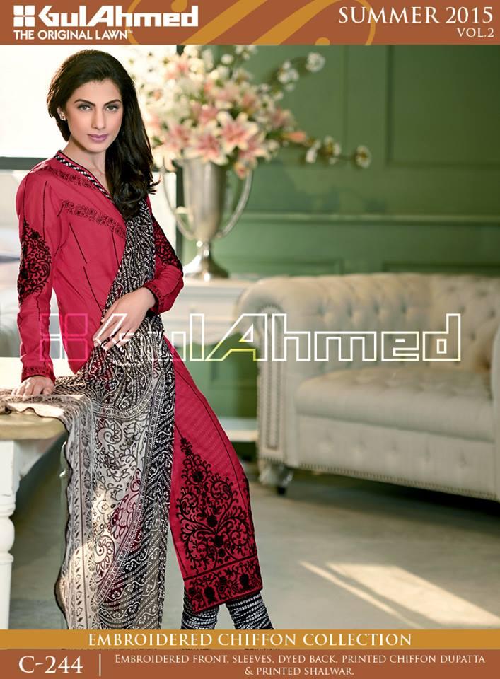 Gul Ahmed The Original Lawn Summer Lawn Chiffon Dresses Collection 2015-2016 (5)