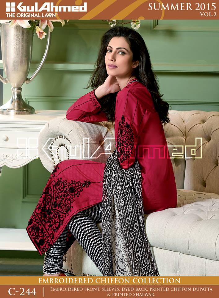Gul Ahmed The Original Lawn Summer Lawn Chiffon Dresses Collection 2015-2016 (6)