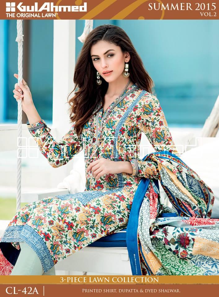 Gul Ahmed The Original Lawn Summer Lawn Chiffon Dresses Collection 2015-2016 (7)