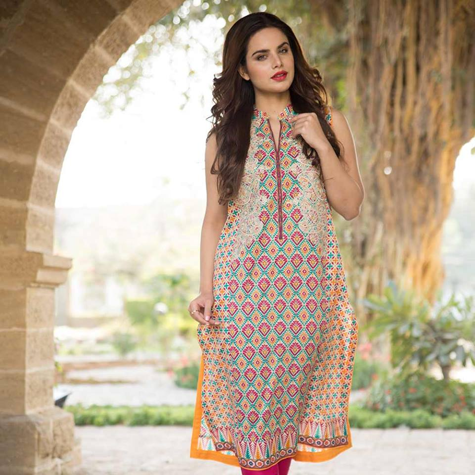Summer lawn kurti trends collection 2015-2016 (17)