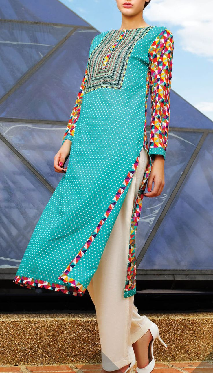 Summer lawn kurti trends collection 2015-2016 (24)