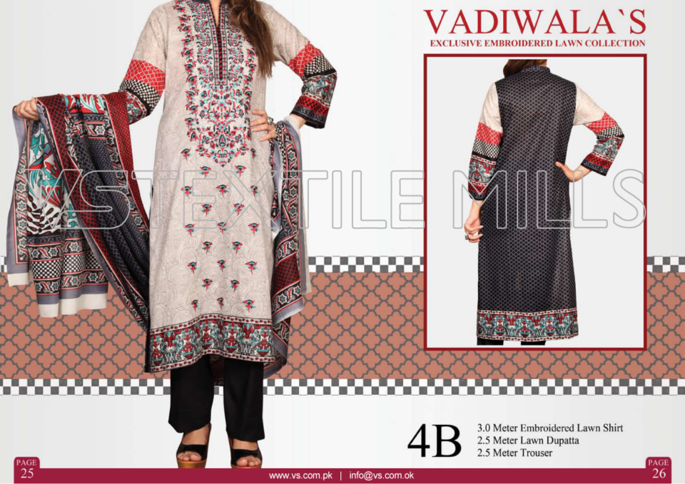 VS Textile Mills Vadiwala Classic Lawn Embroidered Chiffon Collection 2015-2016 (5)