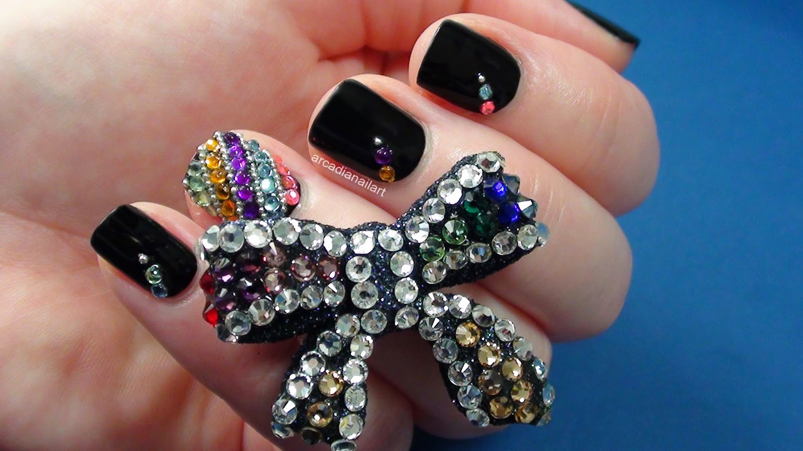 Rhinestone Nail Art Step by Step Tutorial Designs