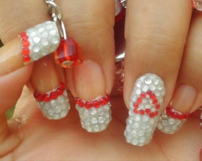 French Nail Art Designs With Rhinestones- HireAbility