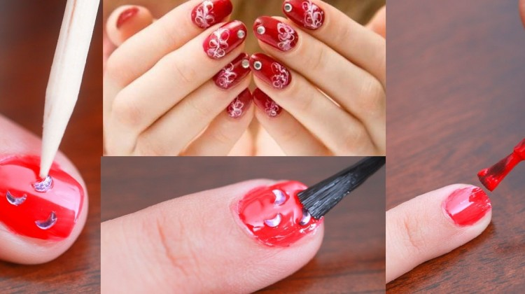 rheinstone nail art tutorial with complete steps