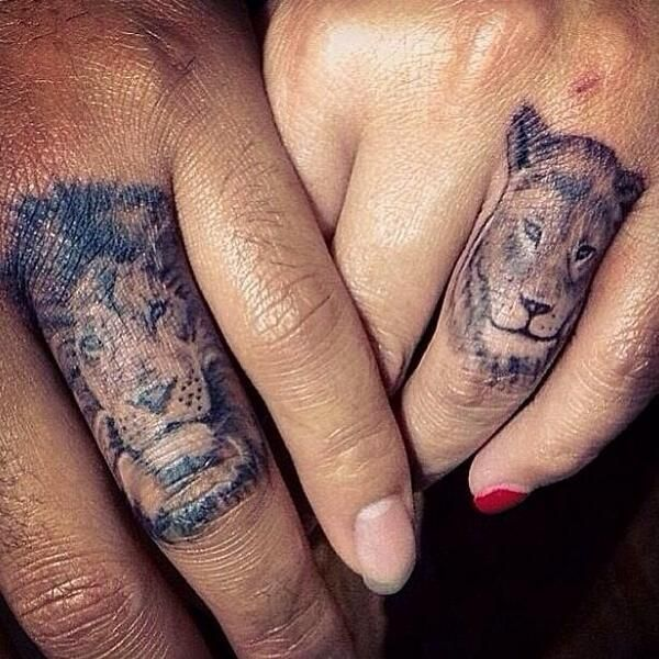 Fingers couple matching tattoos