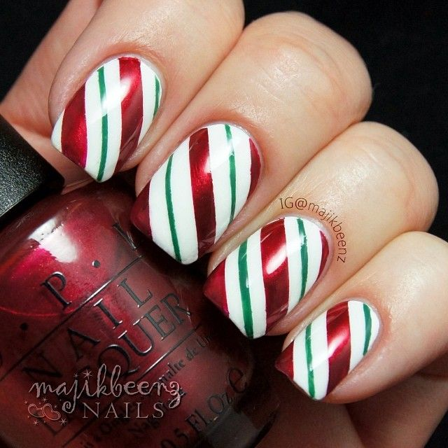 Christmas top ten best nail art designs tutorials 2017 2018 candycane2  candycane prinsesfo Image collections - Candy Cane Nail Art Tutorial Image Collections - Nail Art And Nail