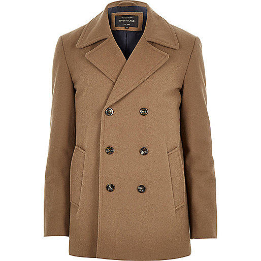 Brown smart wool-blend peacoat-riverisland