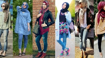 Latest Trends of Casual Wear Hijab Styles with Jeans 2016-2017  (2)