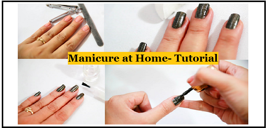 ten steps to a home manicure Learn how to manicure at home here are 10 easy steps for giving a manicure--from filing to polishing--these simple hints will give you great-looking nails.