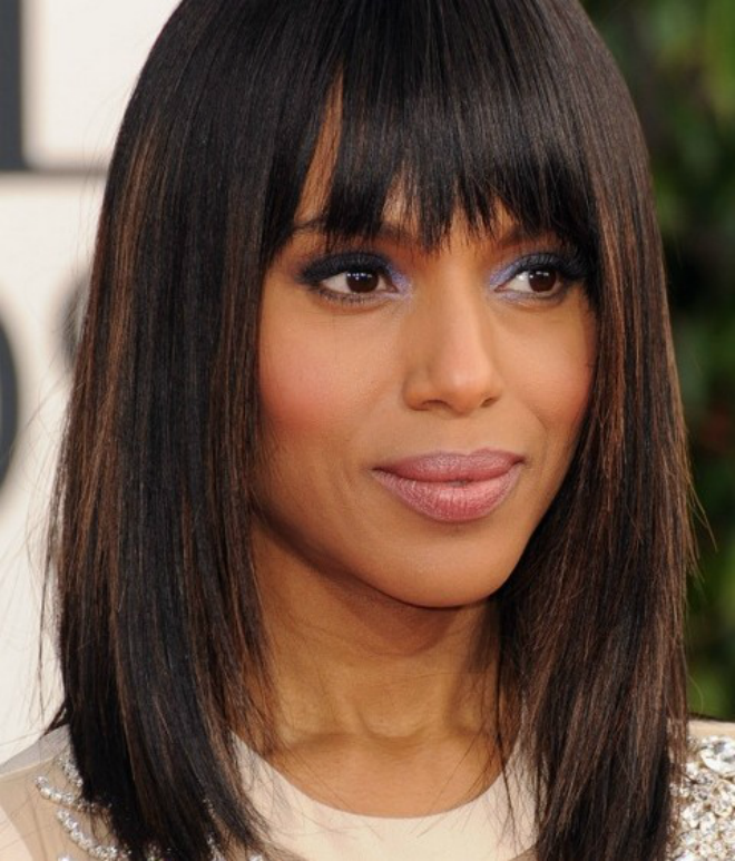 Latest shoulder length hairstyles for women 2017 2018 kerry washington mid length hairstyles straight haircut with urmus Gallery
