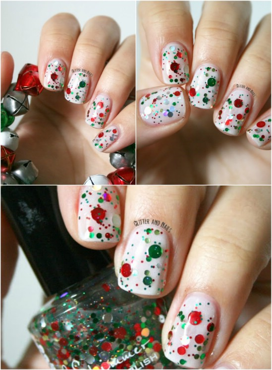 Top 5 easiest amazing christmas nail art designs to try red and green glitter nail art top 5 prinsesfo Gallery