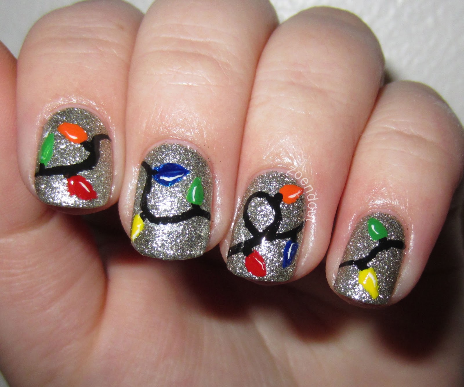 Christmas Lights Nails Pinterest