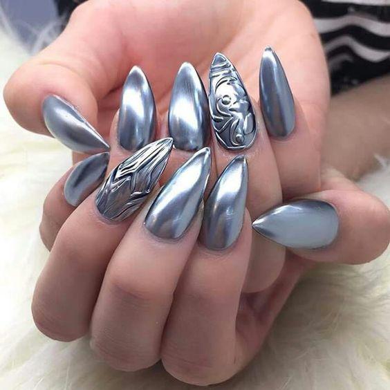 Beautiful Metallic Chrome Nail Art Designs & Tutorial (8)