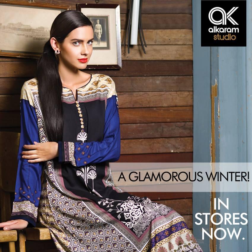 AlKaram Studio Trendy Winter Dresses Glamorous Fall Collection for Women 2014-2015 (4)