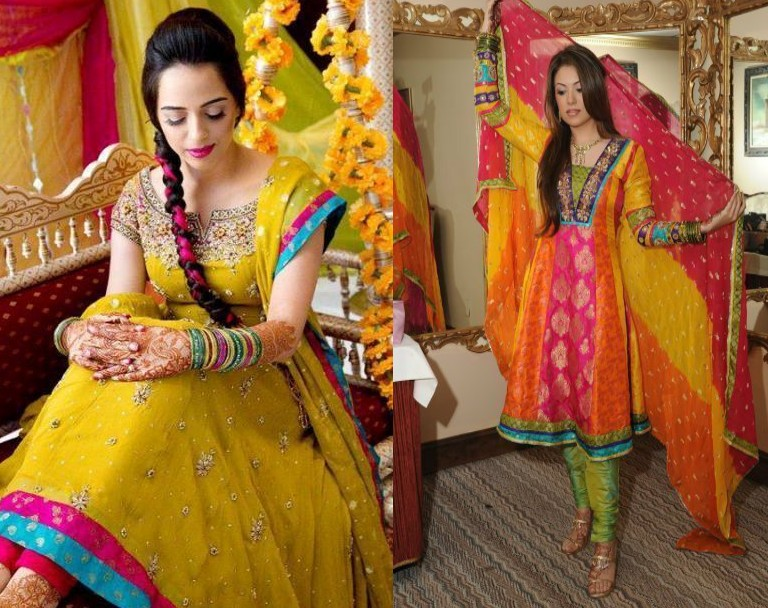 Beautiful & Best Mehndi Dresses Designs Collection for Girls 2014-2015 (30)