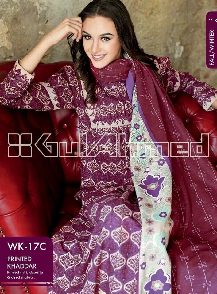 Gul Ahmed Printed Khaddar & Pashmina Shawl Suits Winter Collection 2014-2015 (1)