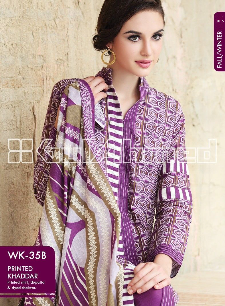 Gul Ahmed Printed Khaddar & Pashmina Shawl Suits Winter Collection 2014-2015 (13)