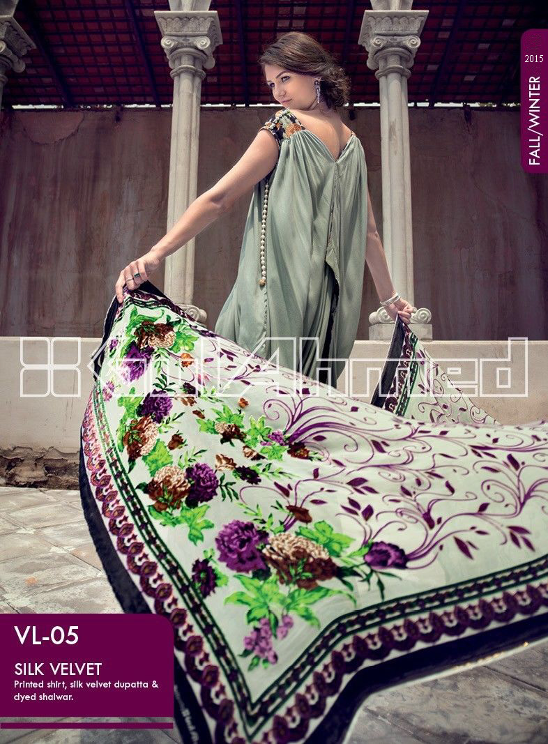 Gul Ahmed Printed Khaddar & Pashmina Shawl Suits Winter Collection 2014-2015 (4)