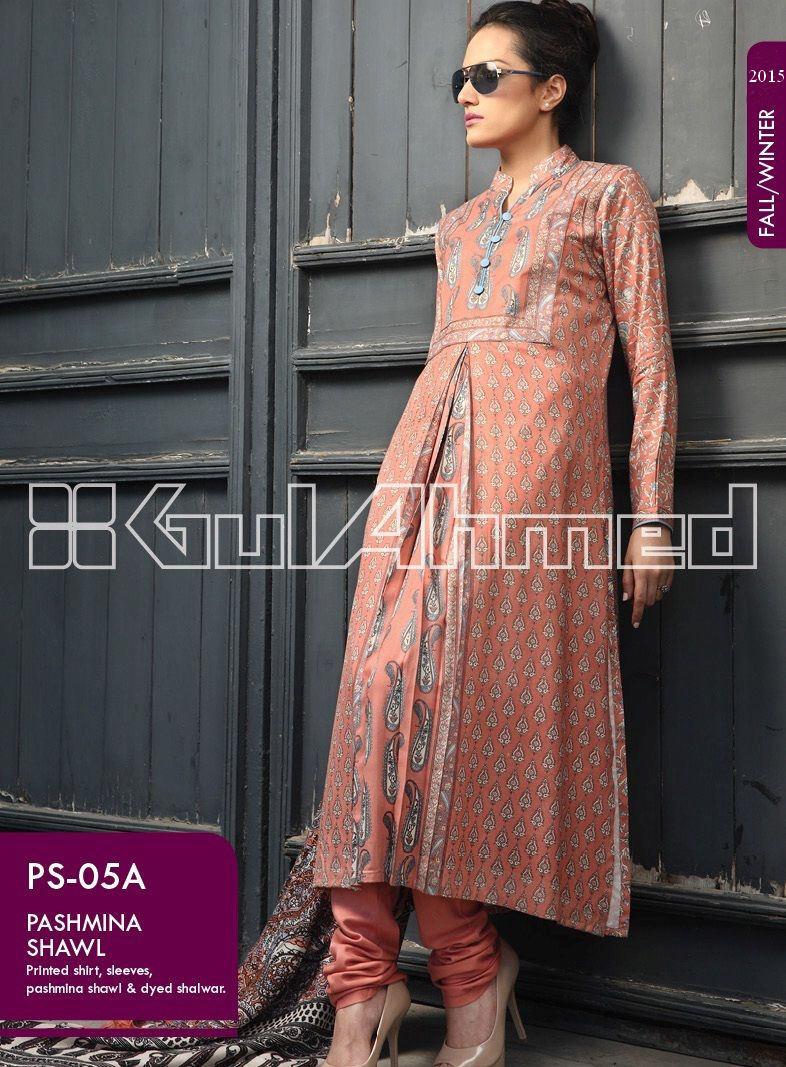Gul Ahmed Printed Khaddar & Pashmina Shawl Suits Winter Collection 2014-2015 (5)